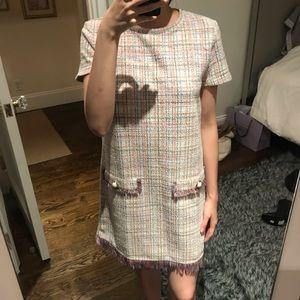 Zara Multicolor Tweed Shift Dress